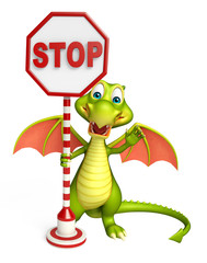 cute Dragon cartoon character with stop sign