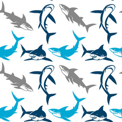 Sharks silhouettes seamless pattern.