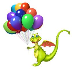 Dragon cartoon character with balloon
