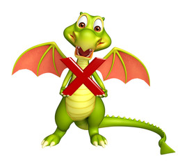 Dragon cartoon character with wrong sign