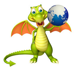 Dragon cartoon character with earth