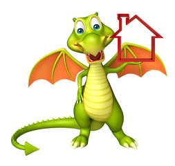 Dragon cartoon character with home sign