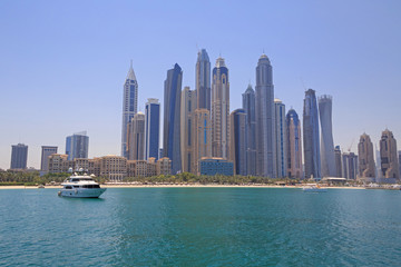 view on beach of district Marina in Dubai from sea