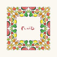 Hand Drawn Fruits Frame