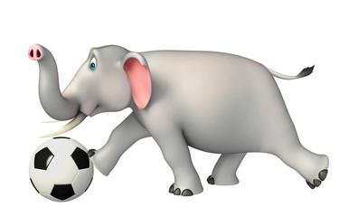 fun Elephant cartoon character with football