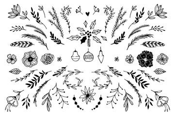 Hand Drawn vector vintage elements ( laurels, frames, leaves, be