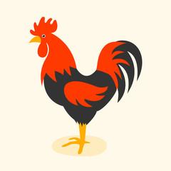 Cute cartoon rooster vector illustration.