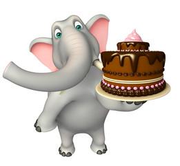 Elephant cartoon character with cake
