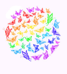 Butterfly rainbow color in a circle