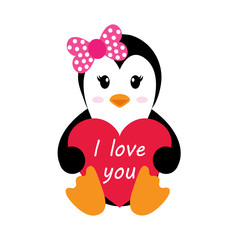 penguin girl with heart vector
