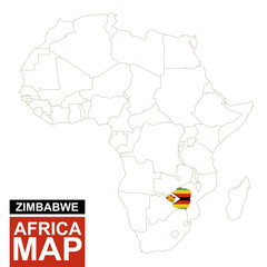 Africa contoured map with highlighted Zimbabwe.