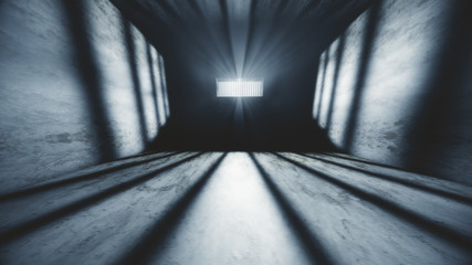 Lightrays Shine through Rails in Demolished Solitary Confinement