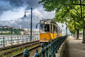 Metro carriage on the banks of the Danube river in Budapest