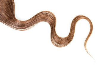 Strand of long, frizzy, brown hair isolated on white background.