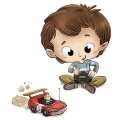 niño jugando con coche de juguete