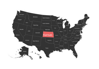 Map of the USA. Image with clipping path and name of states. State mark. Vector illustration.