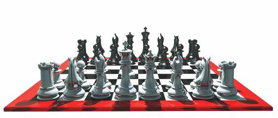 Шахматы, расставленные на шахматной доске в самом начале партии