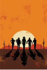Cowboys silhouette background, vector