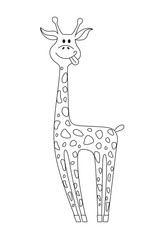 Vector black contour of giraffe