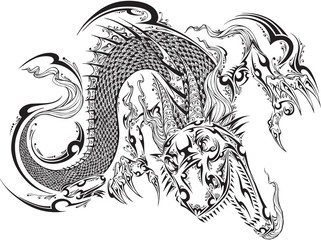 Door stickers Cartoon draw Dragon Doodle Sketch Tattoo Vector
