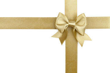 golden ribbon and bow isolated on white background