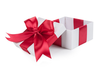 Open white gift box and red bow isolated.