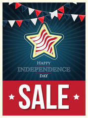 Independence day American signs with flag stripes, vector illustration
