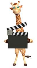 Giraffe cartoon character with clapboard