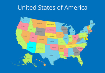 Map of the USA. Image with clipping path and name of states. State mark Vector illustration.