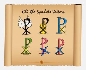 Set of Various Style Chi-Rho Symbols