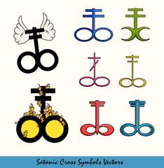 Various Designs of Satanic Cross Symbols
