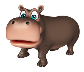 cute walking Hippo cartoon character