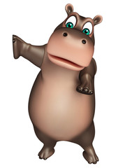 pointing Hippo cartoon character