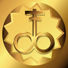 Satanic Cross Golden Symbols