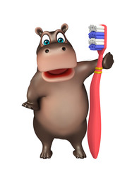 fun Hippo cartoon character with tooth brush