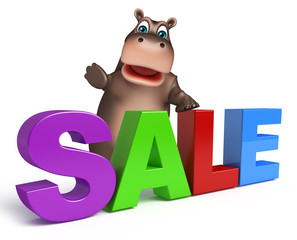 Hippo cartoon character  with sale sign