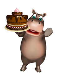 fun Hippo cartoon character with cake