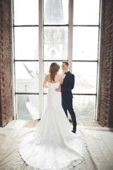 Stylish beautiful wedding couple kissing and hugging on background panoramic view of the old town