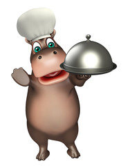 fun Hippo cartoon character with chef hat  and cloche
