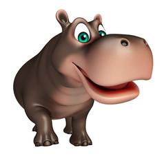 cute walking Hippo cartoon character