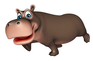 cute running Hippo cartoon character