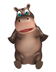 sitting Hippo cartoon character