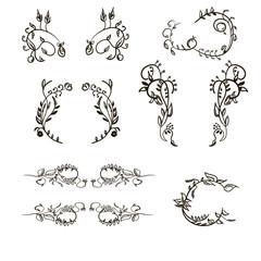 Set floral ornament hand drawn simple vintage frames and design