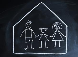 drawn happy family