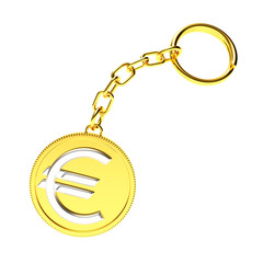 Golden key chain with euro sign isolated on white background.