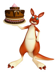 Kangaroo cartoon character  with cake