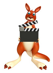 fun Kangaroo cartoon character with clapboard
