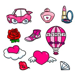 Glamour pink elements cartoon illustration car rose hearts spirits