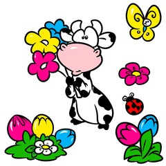 Cow flower butterfly elements cartoon illustration