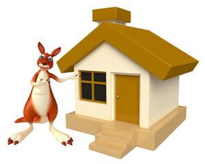 Kangaroo cartoon character with home